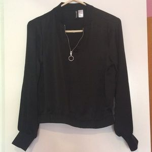 Black Retro Zipper Top